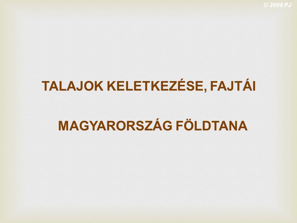 © 2008 PJ TALAJOK KELETKEZÉSE, FAJTÁI MAGYARORSZÁG FÖLDTANA