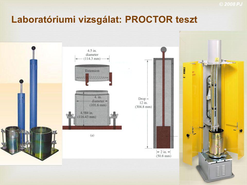© 2008 PJ Laboratóriumi vizsgálat: PROCTOR teszt
