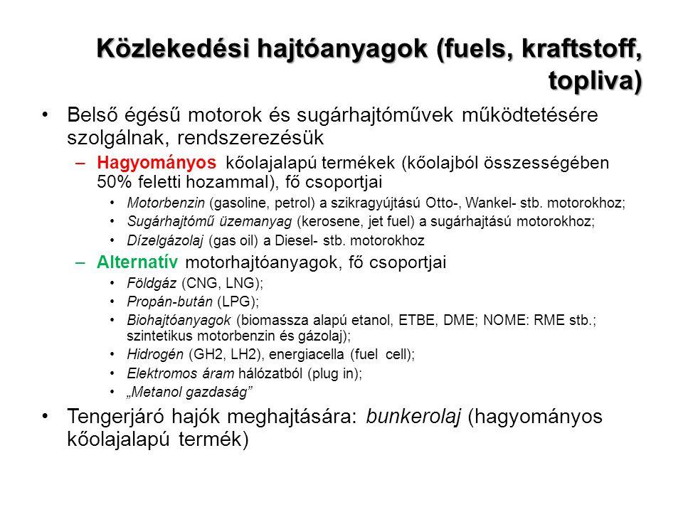 Közlekedési hajtóanyagok (fuels, kraftstoff, topliva) Belső égésű motorok és sugárhajtóművek működtetésére szolgálnak, rendszerezésük –Hagyományos kőolajalapú termékek (kőolajból összességében 50% feletti hozammal), fő csoportjai Motorbenzin (gasoline, petrol) a szikragyújtású Otto-, Wankel- stb.