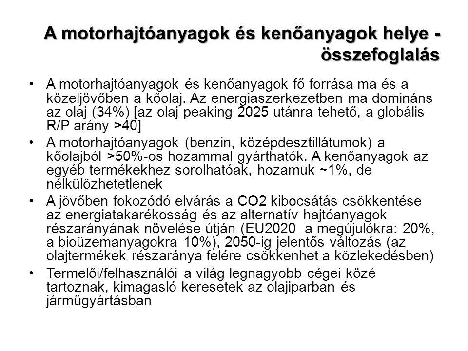 A motorhajtóanyagok és kenőanyagok helye - összefoglalás A motorhajtóanyagok és kenőanyagok fő forrása ma és a közeljövőben a kőolaj.