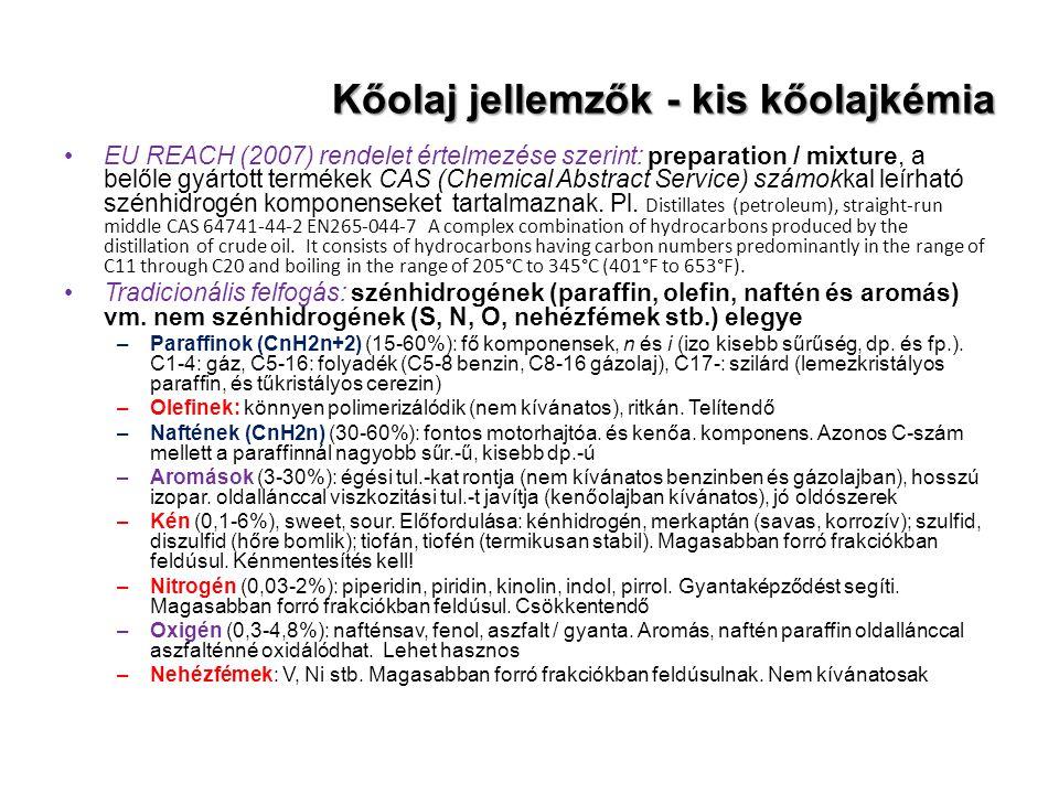 Kőolaj jellemzők - kis kőolajkémia EU REACH (2007) rendelet értelmezése szerint: preparation / mixture, a belőle gyártott termékek CAS (Chemical Abstr