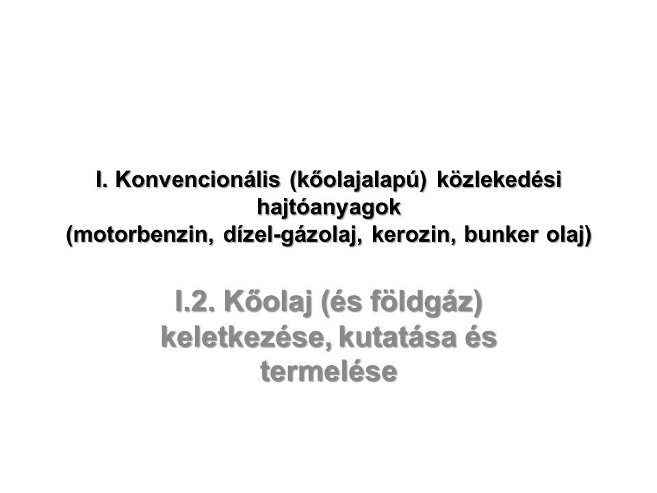 I. Konvencionális (kőolajalapú) közlekedési hajtóanyagok (motorbenzin, dízel-gázolaj, kerozin, bunker olaj) I.2. Kőolaj (és földgáz) keletkezése, kuta