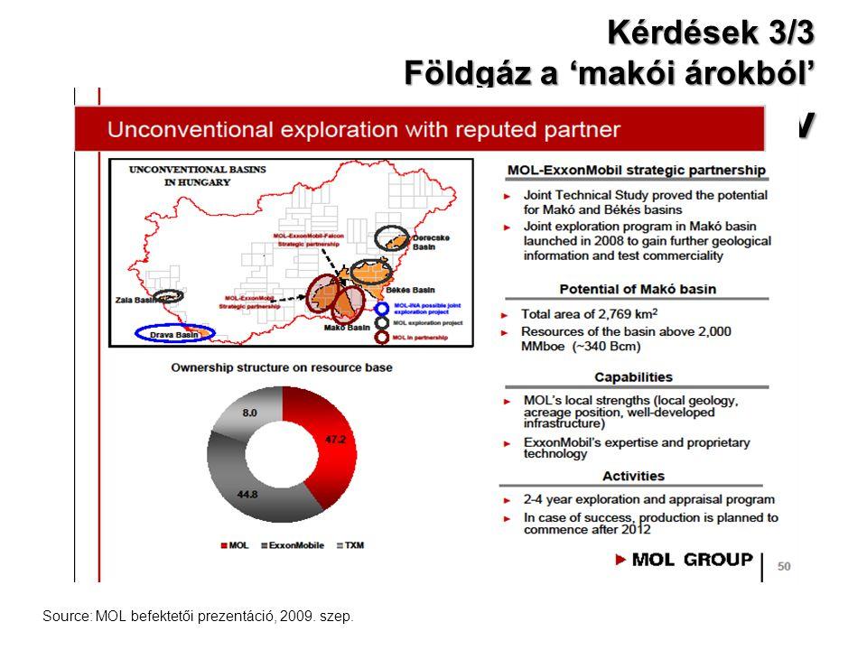 Kérdések 3/3 Földgáz a 'makói árokból' API grav Source: MOL befektetői prezentáció, 2009. szep.