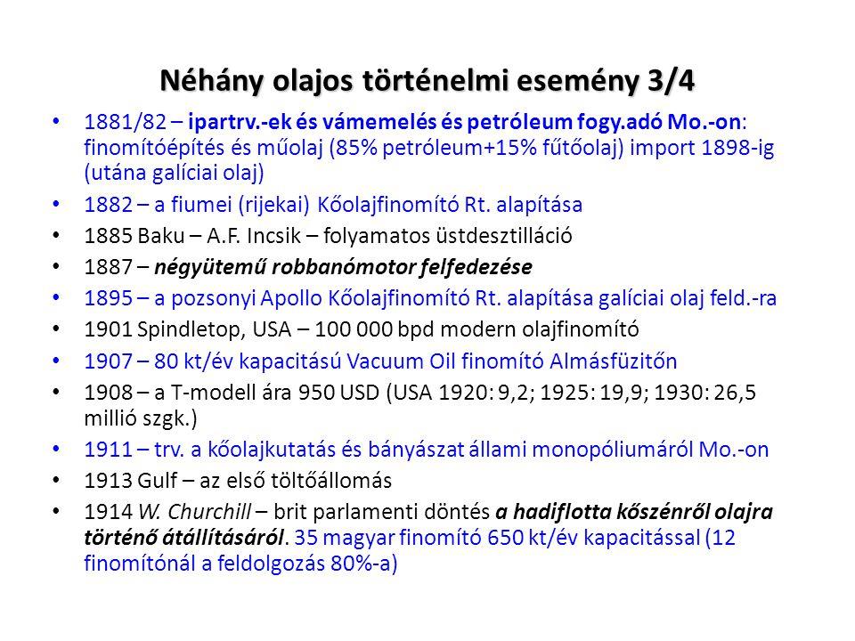 Néhány olajos történelmi esemény 3/4 1881/82 – ipartrv.-ek és vámemelés és petróleum fogy.adó Mo.-on: finomítóépítés és műolaj (85% petróleum+15% fűtő