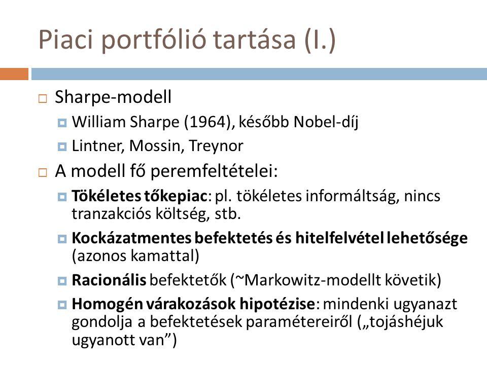 Piaci portfólió tartása (I.)  Sharpe-modell  William Sharpe (1964), később Nobel-díj  Lintner, Mossin, Treynor  A modell fő peremfeltételei:  Tök