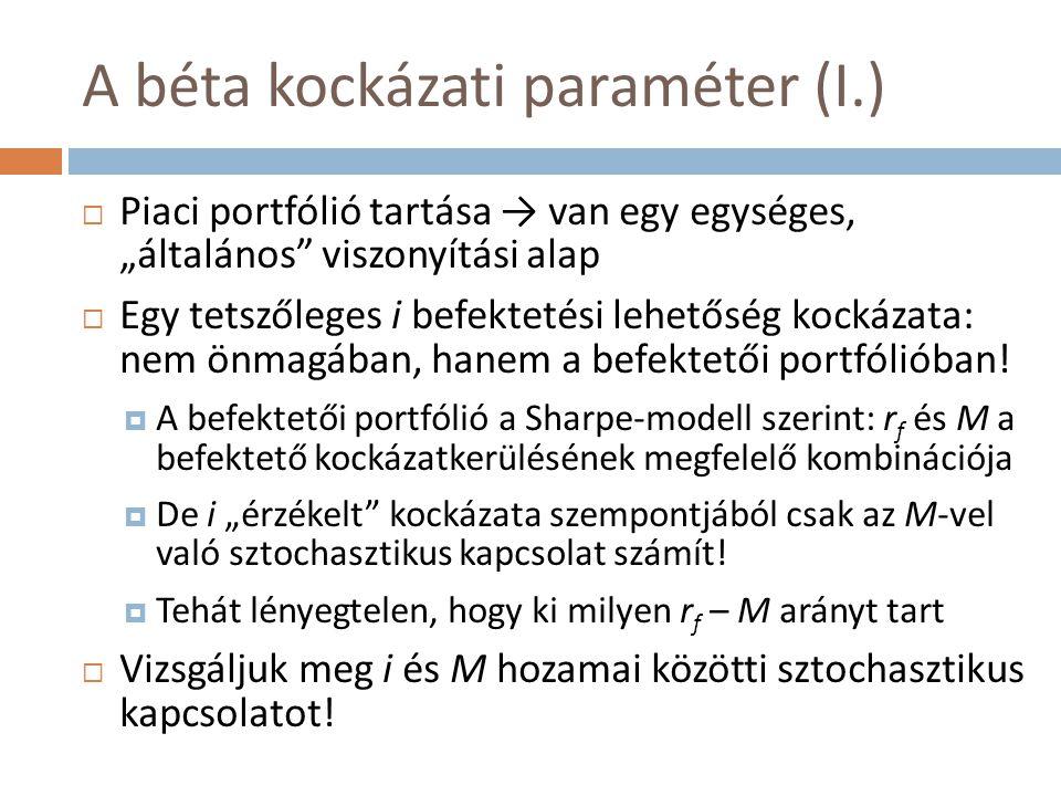 """A béta kockázati paraméter (I.)  Piaci portfólió tartása → van egy egységes, """"általános"""" viszonyítási alap  Egy tetszőleges i befektetési lehetőség"""