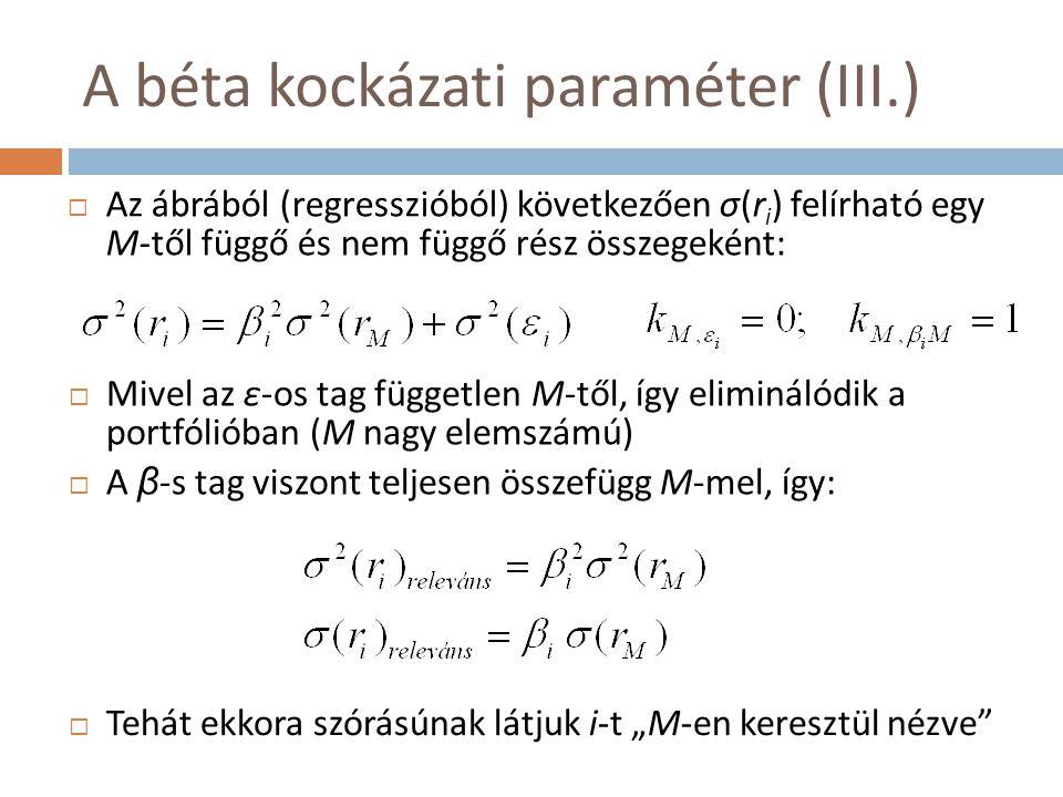A béta kockázati paraméter (III.)  Az ábrából (regresszióból) következően σ(r i ) felírható egy M-től függő és nem függő rész összegeként:  Mivel az