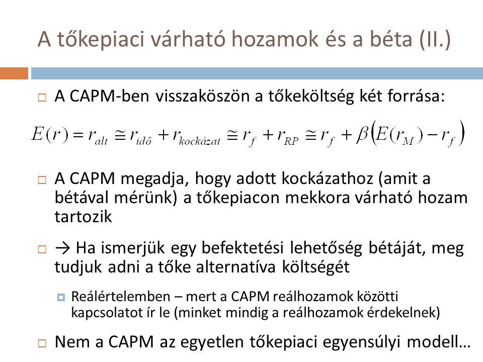 A tőkepiaci várható hozamok és a béta (II.)  A CAPM-ben visszaköszön a tőkeköltség két forrása:  A CAPM megadja, hogy adott kockázathoz (amit a bétá