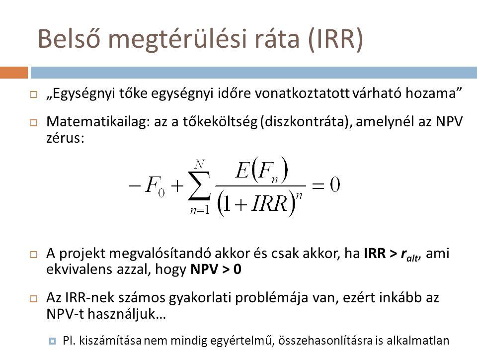 """Belső megtérülési ráta (IRR)  """"Egységnyi tőke egységnyi időre vonatkoztatott várható hozama""""  Matematikailag: az a tőkeköltség (diszkontráta), amely"""