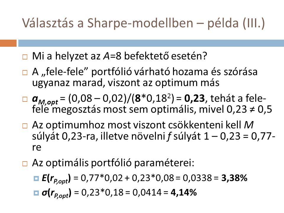 opt A=8 Választás a Sharpe-modellben – példa (IV.) E(r)E(r) σ(r)σ(r) 8% 18% 2% 9% 3,38% 4,14% 16,74% 7,58% 0,5 M U opt A=8 U 0,5 A=8 U opt A=2 U 0,5 A=2 > > Csak hozzávetőleg, jellegében helyes ábrázolás.