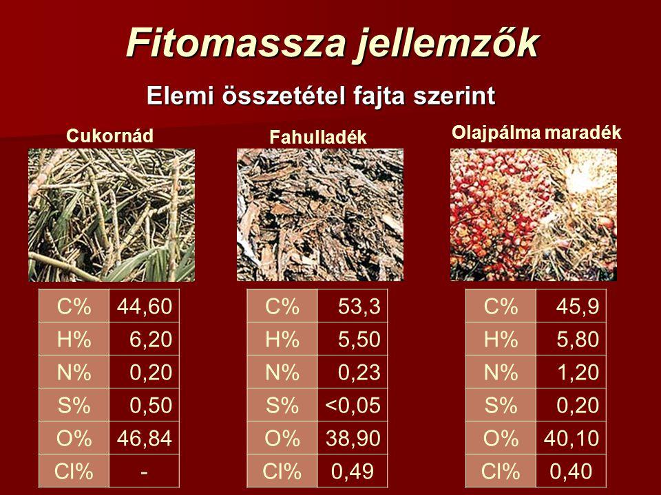 Fitomassza jellemzők Elemi összetétel fajta szerint Cukornád C%44,60 H%6,20 N%0,20 S%0,50 O%46,84 Cl%- Fahulladék C%53,3 H%5,50 N%0,230,23 S%<0,05<0,0