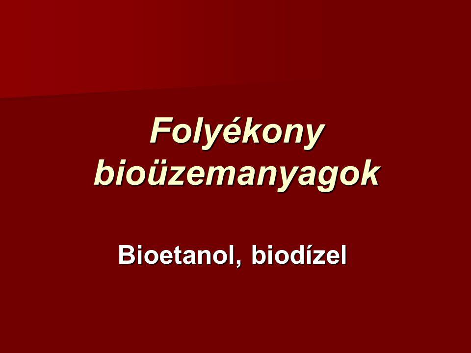 Folyékony bioüzemanyagok Bioetanol, biodízel