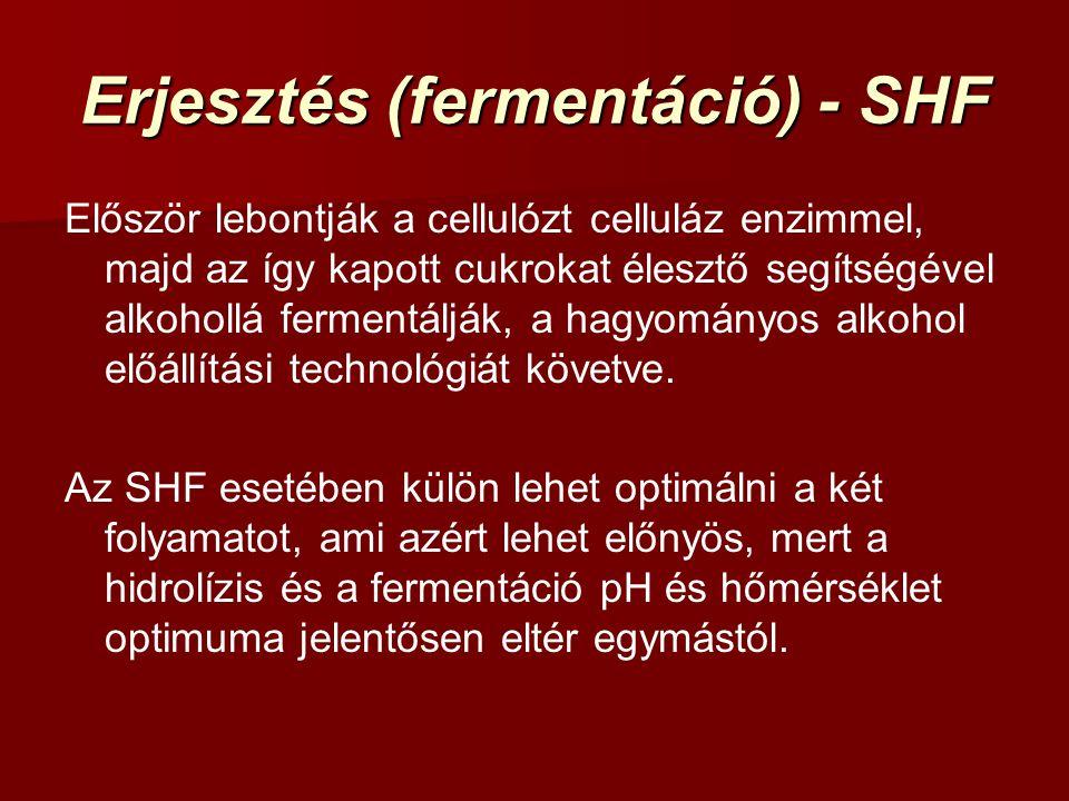 Erjesztés (fermentáció) - SHF Először lebontják a cellulózt celluláz enzimmel, majd az így kapott cukrokat élesztő segítségével alkohollá fermentálják