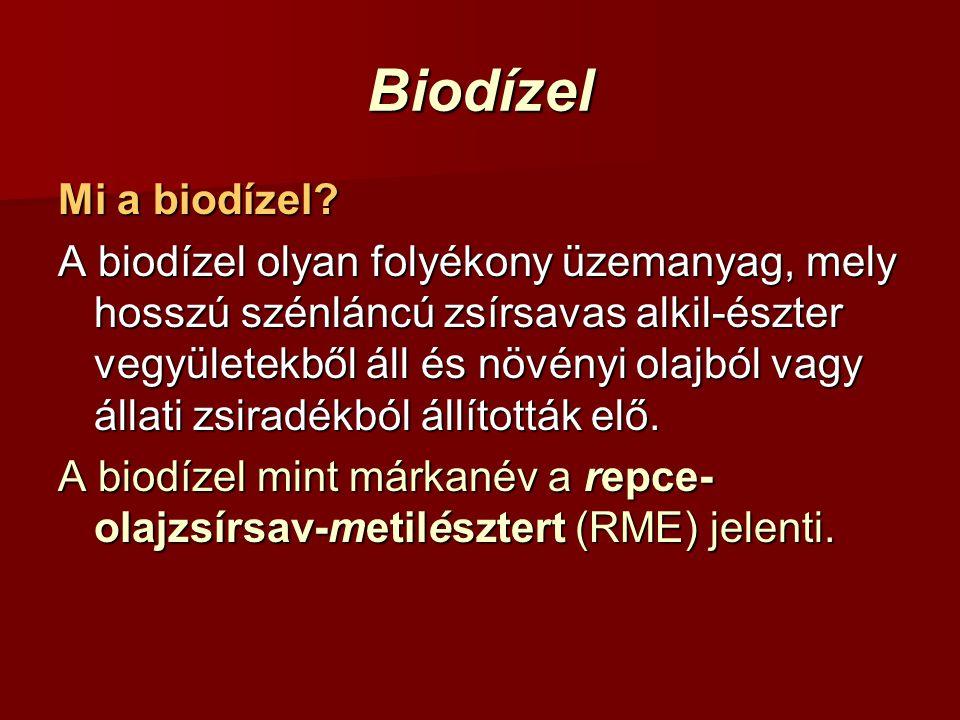 Biodízel Mi a biodízel? A biodízel olyan folyékony üzemanyag, mely hosszú szénláncú zsírsavas alkil-észter vegyületekből áll és növényi olajból vagy á