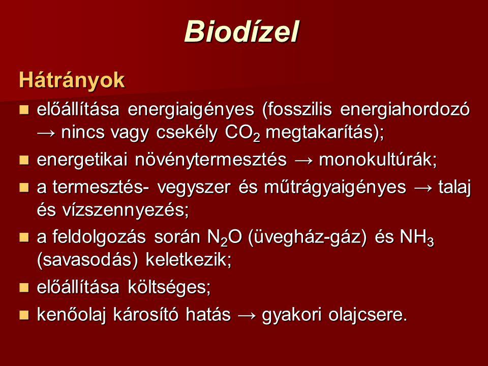 BiodízelHátrányok előállítása energiaigényes (fosszilis energiahordozó → nincs vagy csekély CO 2 megtakarítás); előállítása energiaigényes (fosszilis