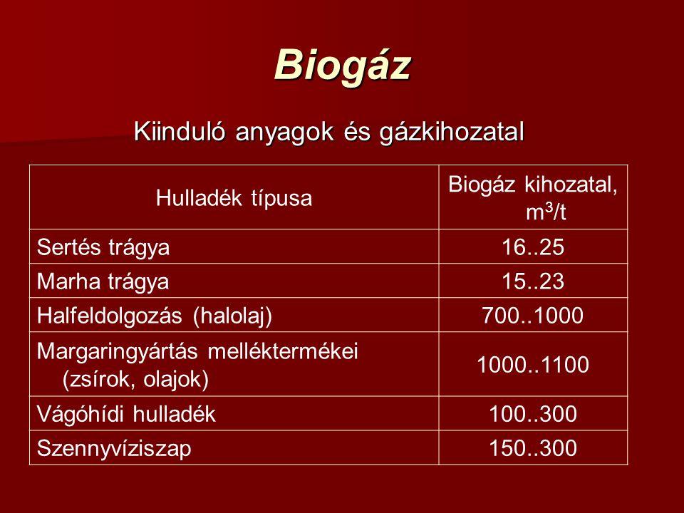 Biogáz Kiinduló anyagok és gázkihozatal Hulladék típusa Biogáz kihozatal, m 3 /t Sertés trágya16..25 Marha trágya15..23 Halfeldolgozás (halolaj)700..1