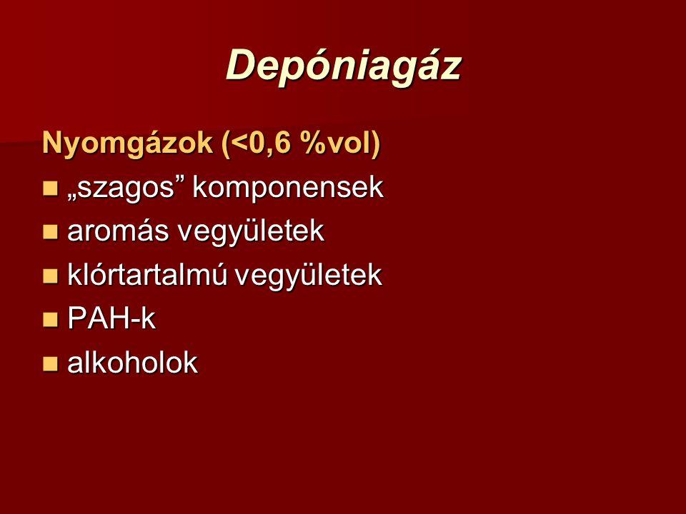 """Depóniagáz Nyomgázok (<0,6 %vol) """"szagos"""" komponensek """"szagos"""" komponensek aromás vegyületek aromás vegyületek klórtartalmú vegyületek klórtartalmú ve"""