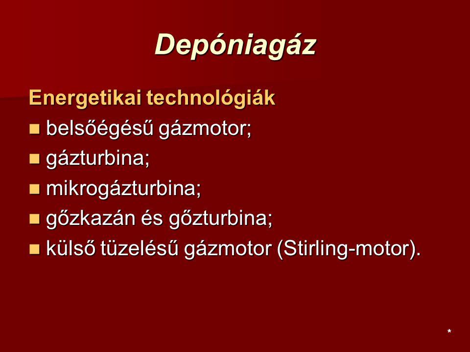 Depóniagáz Energetikai technológiák belsőégésű gázmotor; belsőégésű gázmotor; gázturbina; gázturbina; mikrogázturbina; mikrogázturbina; gőzkazán és gő