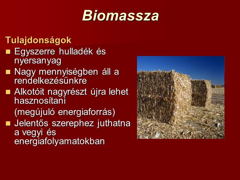 BiomasszaTulajdonságok Egyszerre hulladék és nyersanyag Egyszerre hulladék és nyersanyag Nagy mennyiségben áll a rendelkezésünkre Nagy mennyiségben ál