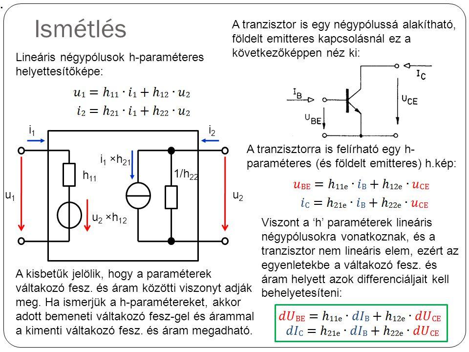 Ismétlés Lineáris négypólusok h-paraméteres helyettesítőképe: h 11 1/h 22 u 2 ×h 12 i 1 ×h 21 u1u1 i1i1 i2i2 u2u2 A tranzisztor is egy négypólussá ala