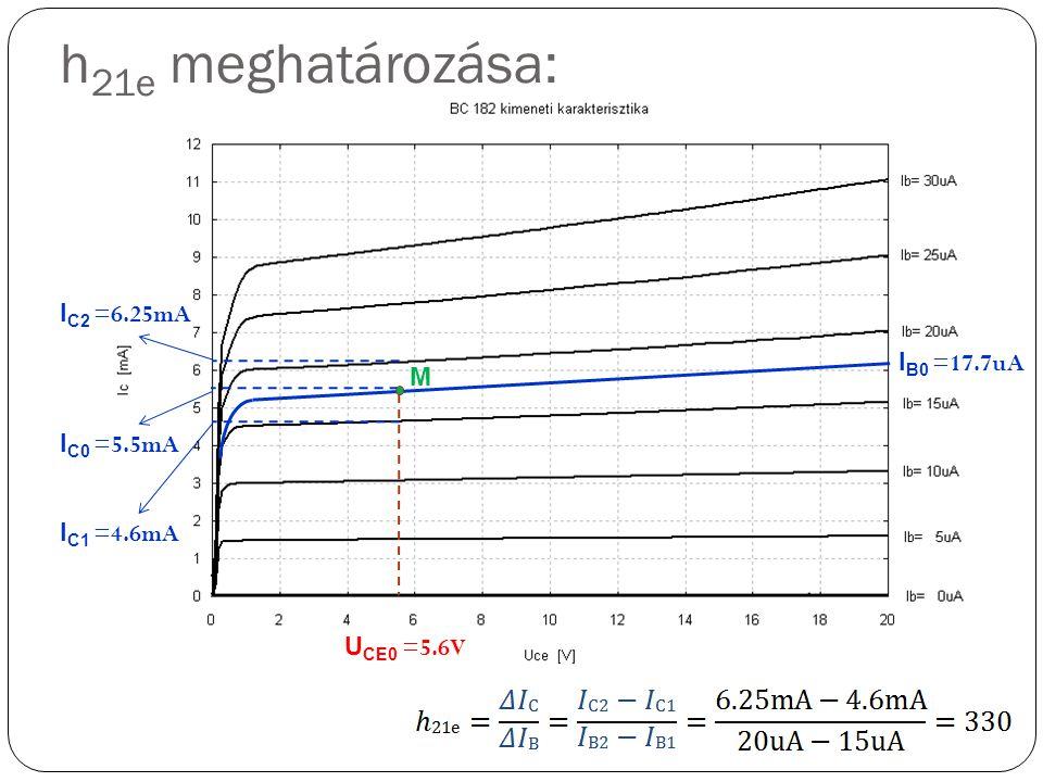 I B0 =17.7uA I C0 =5.5mA M U CE0 =5.6V I C2 =6.25mA I C1 =4.6mA h 21e meghatározása: