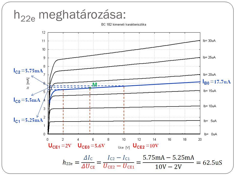 I B0 =17.7uA I C0 =5.5mA M U CE0 =5.6V I C2 =5.75mA I C1 =5.25mA h 22e meghatározása: U CE1 =2V U CE2 =10V
