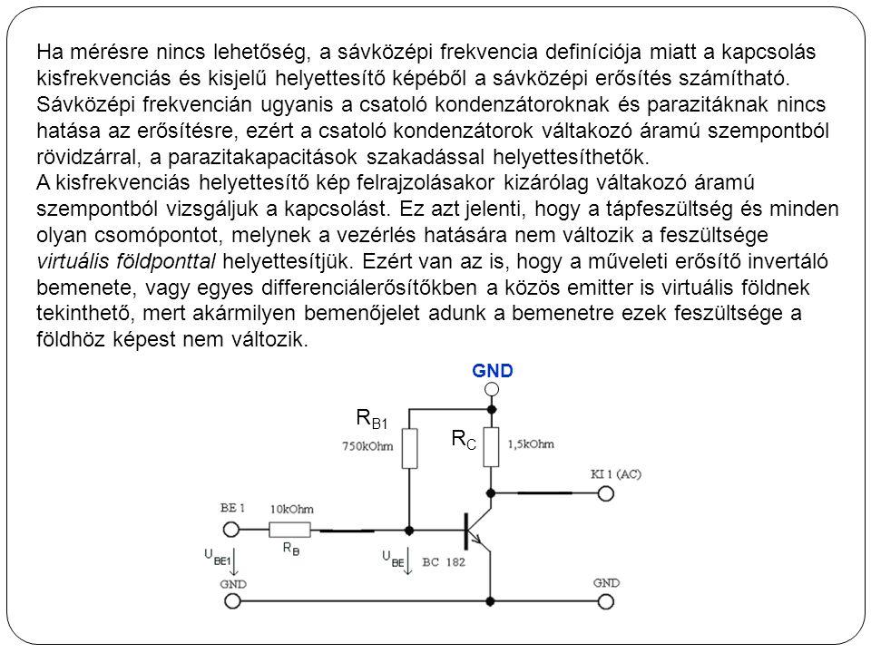 Ha mérésre nincs lehetőség, a sávközépi frekvencia definíciója miatt a kapcsolás kisfrekvenciás és kisjelű helyettesítő képéből a sávközépi erősítés s