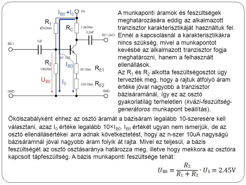 I B0 A munkaponti áramok és feszültségek meghatározására eddig az alkalmazott tranzisztor karakterisztikáját használtuk fel. Ennél a kapcsolásnál a ka