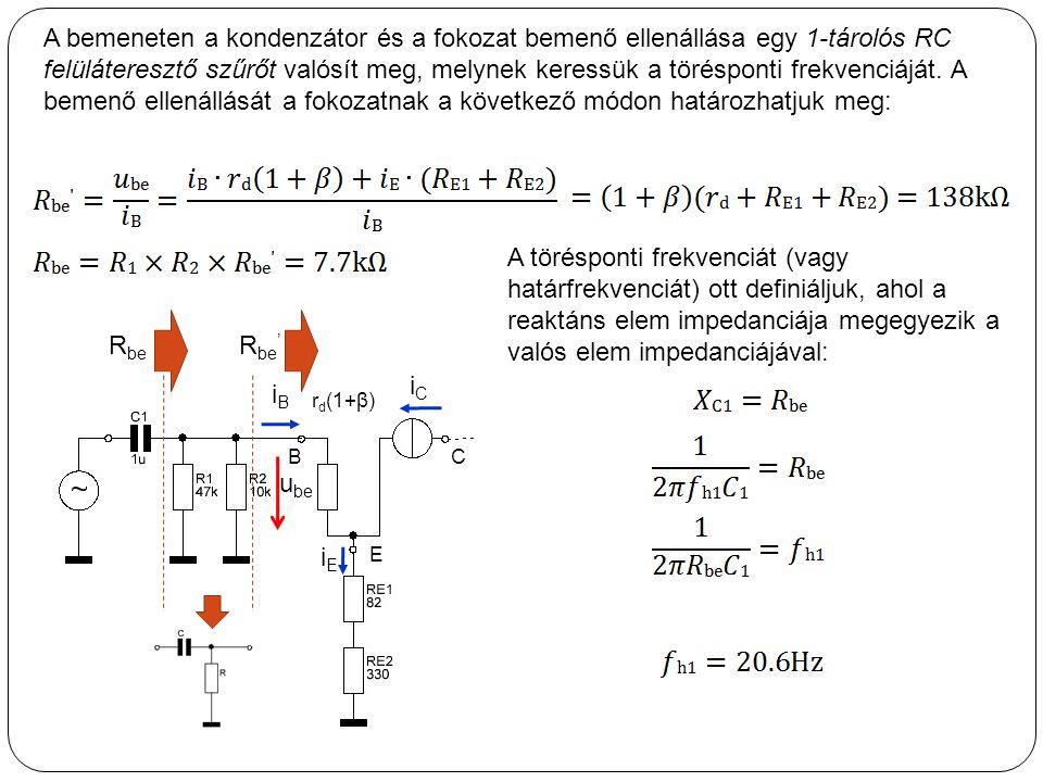 A bemeneten a kondenzátor és a fokozat bemenő ellenállása egy 1-tárolós RC felüláteresztő szűrőt valósít meg, melynek keressük a törésponti frekvenciá