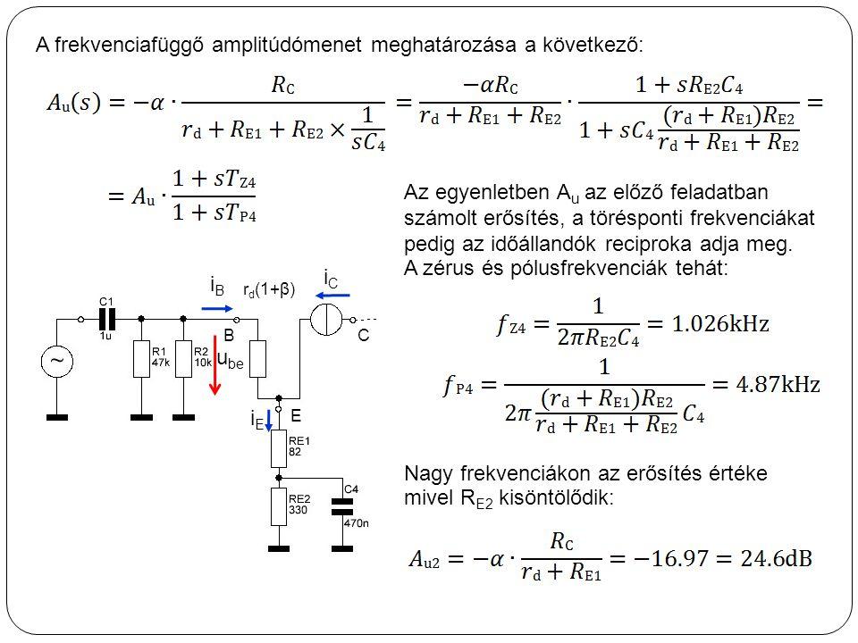 A frekvenciafüggő amplitúdómenet meghatározása a következő: r d (1+β) B iCiC iEiE C E iBiB u be Az egyenletben A u az előző feladatban számolt erősíté