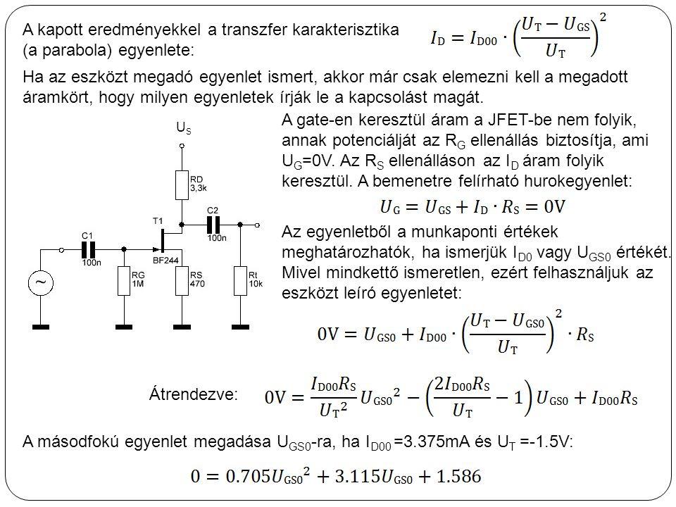 A kapott eredményekkel a transzfer karakterisztika (a parabola) egyenlete: A másodfokú egyenlet megadása U GS0 -ra, ha I D00 =3.375mA és U T =-1.5V: H