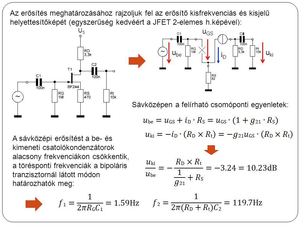 Az erősítés meghatározásához rajzoljuk fel az erősítő kisfrekvenciás és kisjelű helyettesítőképét (egyszerűség kedvéért a JFET 2-elemes h.képével): Sá