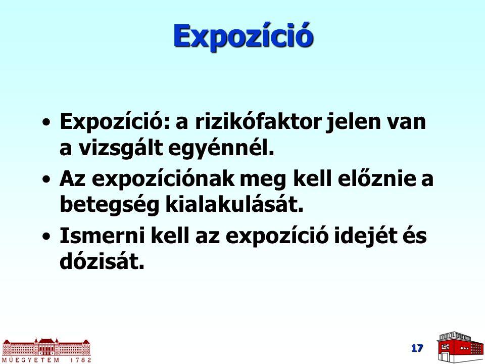 Expozíció Expozíció: a rizikófaktor jelen van a vizsgált egyénnél.Expozíció: a rizikófaktor jelen van a vizsgált egyénnél. Az expozíciónak meg kell el