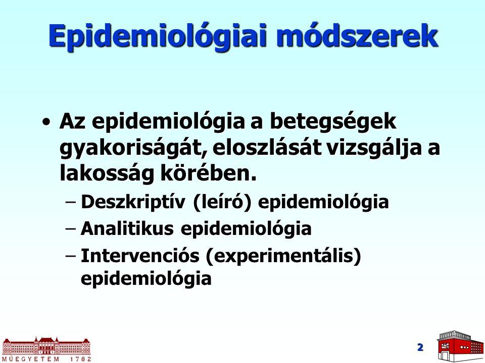 Epidemiológiai módszerek Az epidemiológia a betegségek gyakoriságát, eloszlását vizsgálja a lakosság körében.Az epidemiológia a betegségek gyakoriságá