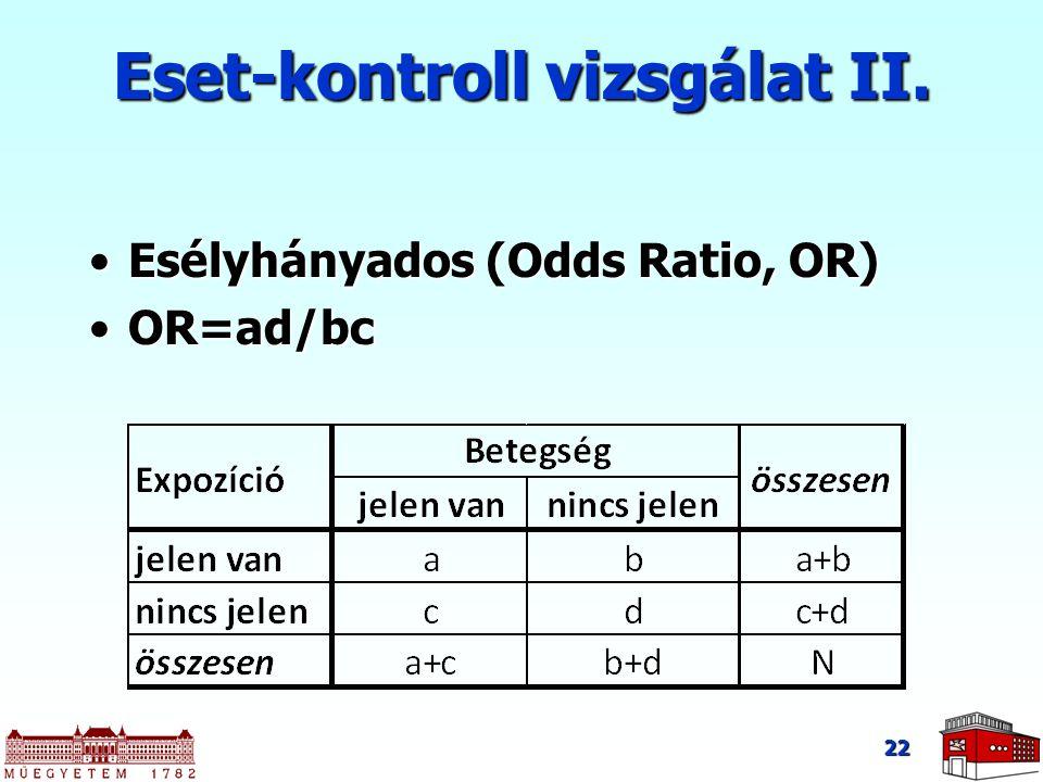 Esélyhányados (Odds Ratio, OR)Esélyhányados (Odds Ratio, OR) OR=ad/bcOR=ad/bc 22 Eset-kontroll vizsgálat II.