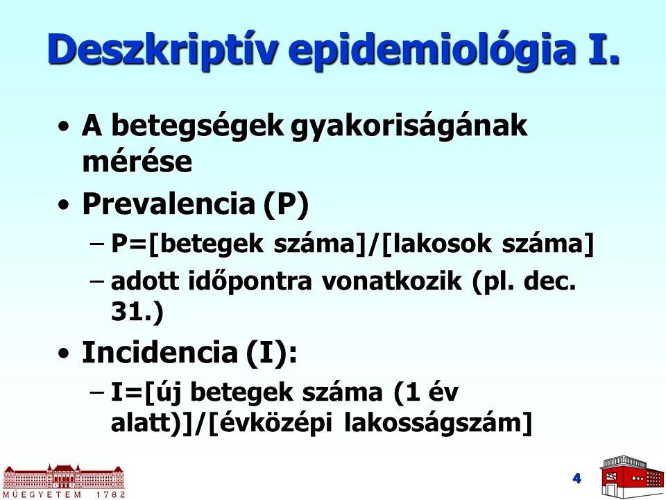 Deszkriptív epidemiológia I. A betegségek gyakoriságának méréseA betegségek gyakoriságának mérése Prevalencia (P)Prevalencia (P) –P=[betegek száma]/[l