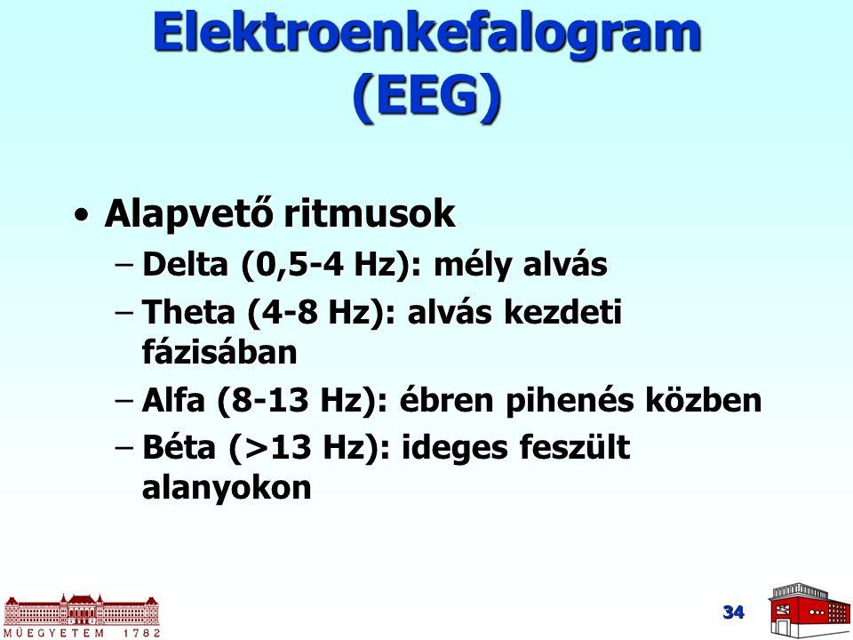 34 Alapvető ritmusokAlapvető ritmusok –Delta (0,5-4 Hz): mély alvás –Theta (4-8 Hz): alvás kezdeti fázisában –Alfa (8-13 Hz): ébren pihenés közben –Béta (>13 Hz): ideges feszült alanyokon Elektroenkefalogram (EEG)