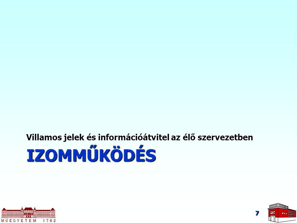 IZOMMŰKÖDÉS Villamos jelek és információátvitel az élő szervezetben 7