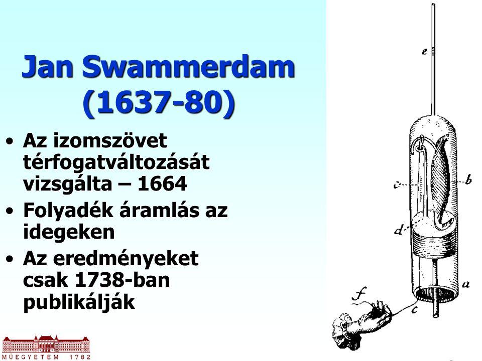 Jan Swammerdam (1637-80) Az izomszövet térfogatváltozását vizsgálta – 1664Az izomszövet térfogatváltozását vizsgálta – 1664 Folyadék áramlás az idegekenFolyadék áramlás az idegeken Az eredményeket csak 1738-ban publikáljákAz eredményeket csak 1738-ban publikálják