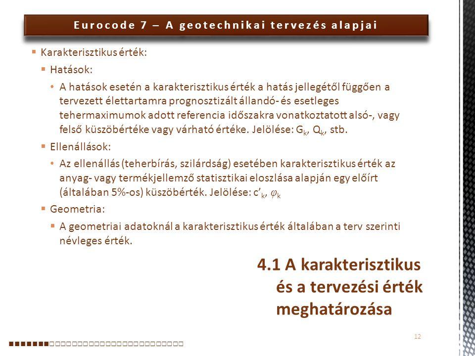 Eurocode 7 – A geotechnikai tervezés alapjai  Karakterisztikus érték:  Hatások: A hatások esetén a karakterisztikus érték a hatás jellegétől függően