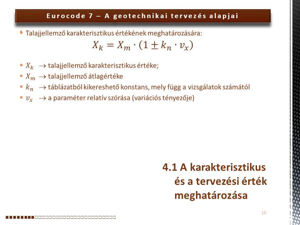 Eurocode 7 – A geotechnikai tervezés alapjai  13 ■■■■■■■■ □□□□□□□□□□□□□□□□□□□□□□□ 4.1 A karakterisztikus és a tervezési érték meghatározása