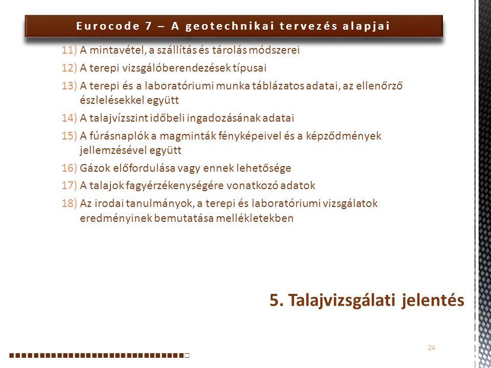 Eurocode 7 – A geotechnikai tervezés alapjai 11)A mintavétel, a szállítás és tárolás módszerei 12)A terepi vizsgálóberendezések típusai 13)A terepi és