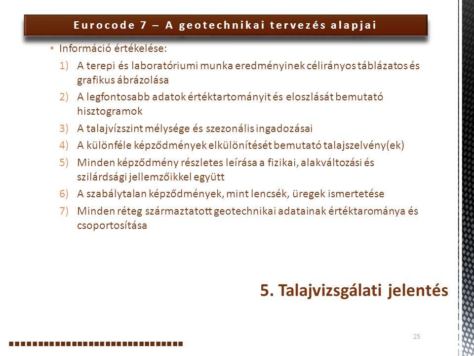 Eurocode 7 – A geotechnikai tervezés alapjai Információ értékelése: 1)A terepi és laboratóriumi munka eredményinek célirányos táblázatos és grafikus á