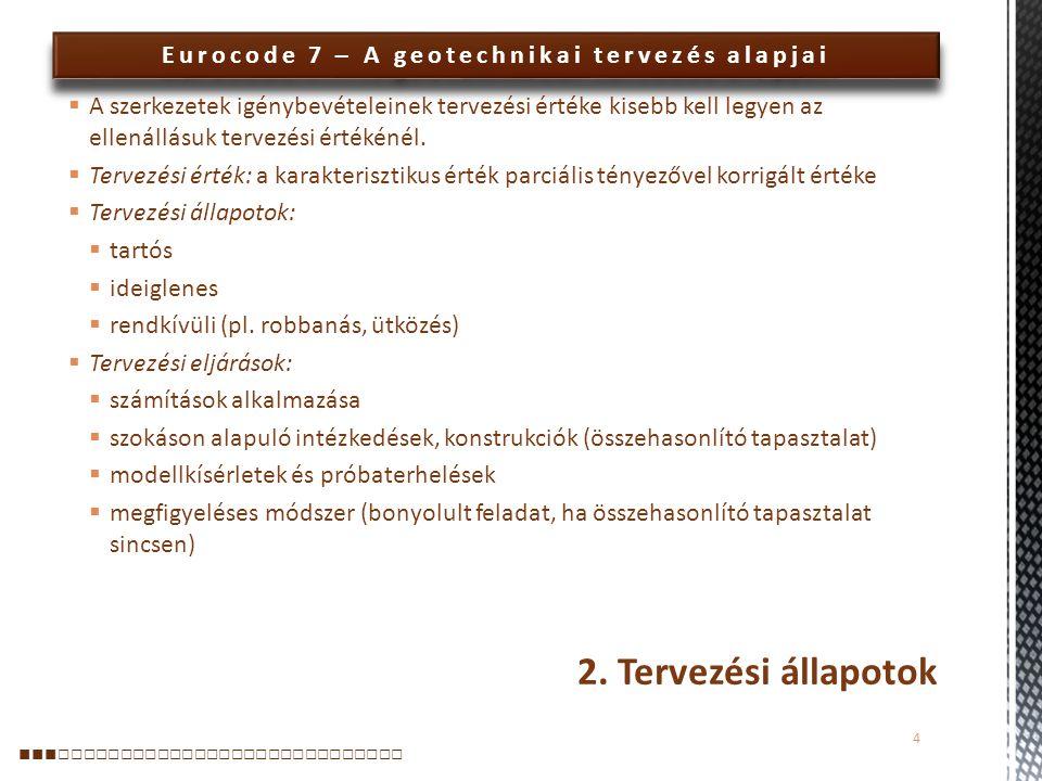 Eurocode 7 – A geotechnikai tervezés alapjai Információ értékelése: 1)A terepi és laboratóriumi munka eredményinek célirányos táblázatos és grafikus ábrázolása 2)A legfontosabb adatok értéktartományit és eloszlását bemutató hisztogramok 3)A talajvízszint mélysége és szezonális ingadozásai 4)A különféle képződmények elkülönítését bemutató talajszelvény(ek) 5)Minden képződmény részletes leírása a fizikai, alakváltozási és szilárdsági jellemzőikkel együtt 6)A szabálytalan képződmények, mint lencsék, üregek ismertetése 7)Minden réteg származtatott geotechnikai adatainak értéktarománya és csoportosítása 5.