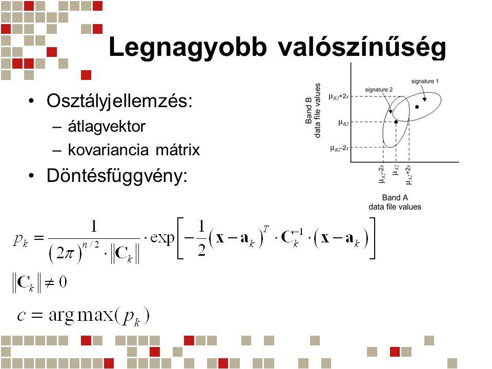Legnagyobb valószínűség Osztályjellemzés: –átlagvektor –kovariancia mátrix Döntésfüggvény: