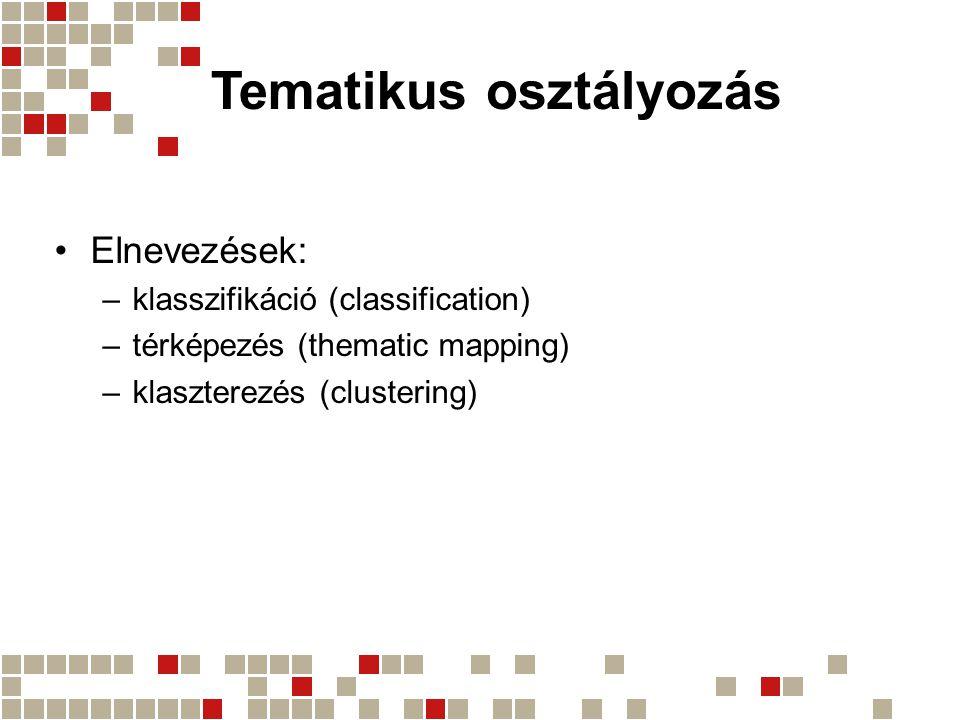 Elnevezések: –klasszifikáció (classification) –térképezés (thematic mapping) –klaszterezés (clustering)