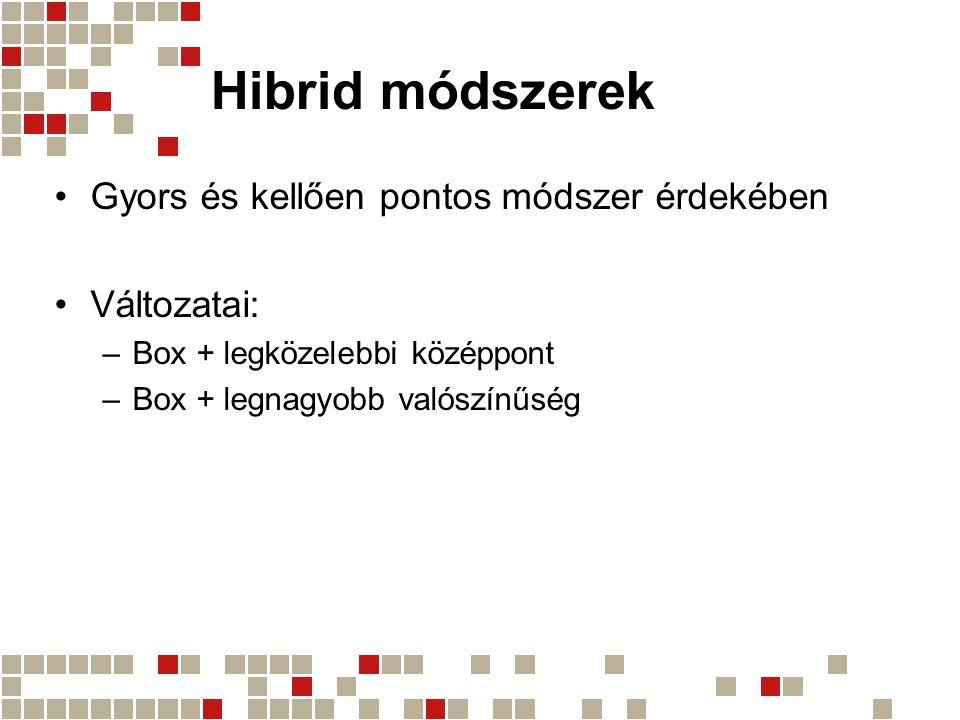 Hibrid módszerek Gyors és kellően pontos módszer érdekében Változatai: –Box + legközelebbi középpont –Box + legnagyobb valószínűség