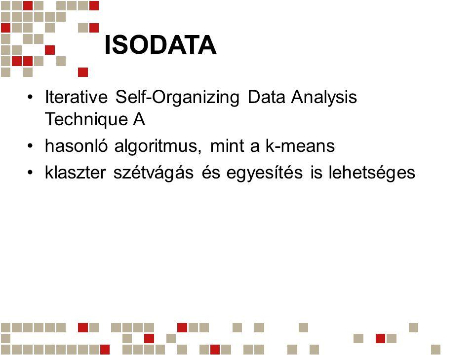 ISODATA Iterative Self-Organizing Data Analysis Technique A hasonló algoritmus, mint a k-means klaszter szétvágás és egyesítés is lehetséges