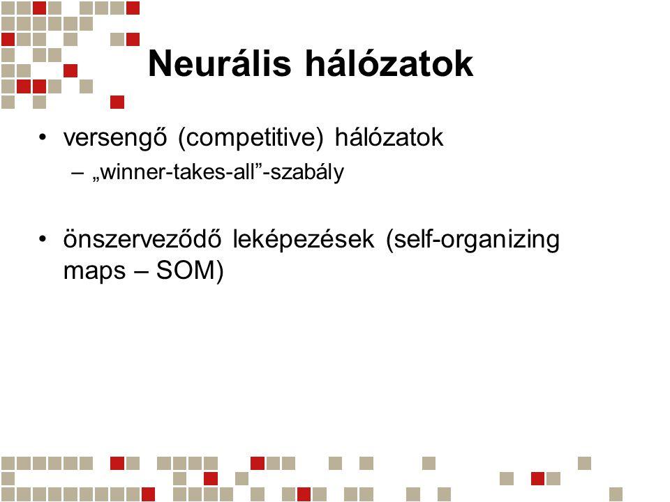 """Neurális hálózatok versengő (competitive) hálózatok –""""winner-takes-all""""-szabály önszerveződő leképezések (self-organizing maps – SOM)"""