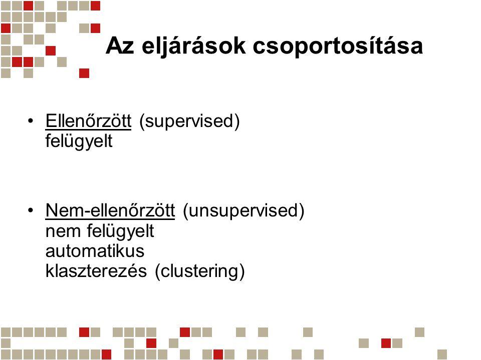 Az eljárások csoportosítása Ellenőrzött (supervised) felügyelt Nem-ellenőrzött (unsupervised) nem felügyelt automatikus klaszterezés (clustering)